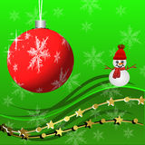 Bright beautiful christmas background with a snow man and festiv Stock Images
