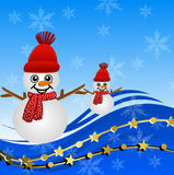 Bright beautiful christmas background with snow men Royalty Free Stock Photo