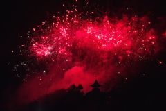 Bright beautiful colorful fireworks. Colored lights in the night sky Stock Photos