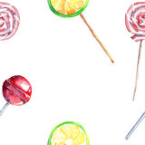 Bright beautiful colorful wonderful delicious tasty yummy summer fresh dessert lemon twisted caramel candies on a sticks frame Royalty Free Stock Image