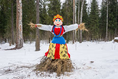 Bright beautiful effigy of Maslenitsa. Royalty Free Stock Images