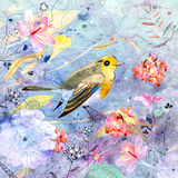 Floral background with a bird stock illustration