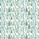 Bright beautiful gentle graphic herbal floral pattern of green grass with oat horizontal pattern watercolor. Hand sketch Stock Photography