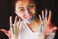 Bright beautiful girl with art colorful make-up Royalty Free Stock Photography