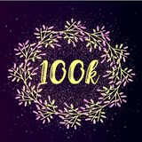 Bright beautiful layout for social media internet. 100k follower background with flat gradient wreath on glitter background. Stock Photos