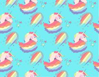 Bright beautiful lovely cute fairy magical colorful unicorns and rainbows pattern on blue background vector illustration. Perfect for greeting and birthday Royalty Free Stock Image