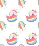 Bright beautiful lovely cute fairy magical colorful unicorns and rainbows pattern vector illustration. Perfect for greeting and birthday card, wedding Stock Photo