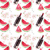 Bright beautiful lovely wonderful cute delicious tasty yummy summer picnic set includes bottle of red wine, slices of watermelon, Stock Images