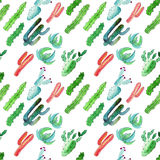 Bright beautiful mexican tropical hawaii floral herbal summer green pattern of a colorful cactus with flowers vertical diagonal pa. Ttern paint like a child stock illustration