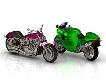 Bright beautiful 2 motorcycles type Royalty Free Stock Photography