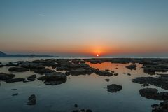 Bright beautiful scenery, sunset by the sea, dawn and sea tide, stock photography