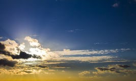 Bright beautiful sky and cloud sunrise sunset. Contrast horizontal shot Royalty Free Stock Photo