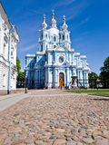 Bright beautiful Smolny Cathedral in St. Petersburg on a Sunny spring day. Vertical frame.  royalty free stock images
