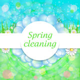 Bright beautiful spring background with soap bubbles, grass, flo stock illustration