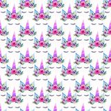Bright beautiful spring lovely cute fairy magical colorful pattern of unicorns with eyelashes in the floral crown watercolor Stock Image