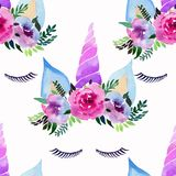 Bright beautiful spring lovely cute fairy magical colorful pattern of unicorns with eyelashes in the floral tender crown watercolo. R hand illustration Perfect Royalty Free Stock Image