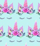 Bright beautiful spring lovely cute fairy magical pattern of unicorns with eyelashes in the floral tender crown on blue background. Vector illustration. Perfect