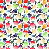 Bright beautiful summer juicy pears apples plums orange green red violet and yellow colors with green leaves pattern watercolor. Hand illustration Royalty Free Stock Photo
