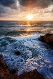 Bright beautiful sunset on the sea, natural background and texture, wallpaper stock photo