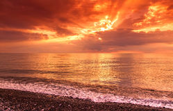 Bright beautiful sunset at sea Royalty Free Stock Images