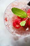 Bright beautiful and tasty alcoholic cocktail or lemonade with a cap of frozen ice, mint and fresh raspberries on the bar with a n. Bright beautiful and tasty Stock Photo