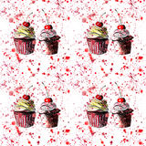 Bright beautiful tender delicious tasty chocolate yummy summer dessert cupcakes with red cherry strawberry on red pink spray Stock Images