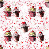 Bright beautiful tender delicious tasty chocolate yummy summer dessert cupcakes with red cherry strawberry on red pink spray water Stock Image