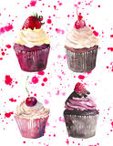 Bright beautiful tender delicious tasty chocolate yummy summer dessert four cupcakes with red cherry strawberry and raspberry on r Stock Photo