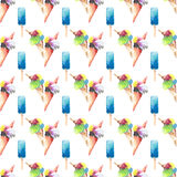 Bright beautiful tender delicious tasty chocolate yummy summer dessert ice cream  in a waffle horn and blue frozen juice pattern Stock Images