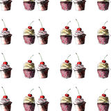 Bright beautiful tender graphic delicious tasty chocolate yummy summer dessert cupcakes with cream red cherry pattern Stock Photography