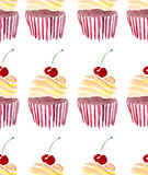 Bright beautiful tender lovely cute delicious tasty yummy summer dessert two cupcakes with red cherry pattern watercolor Stock Photo