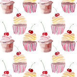 Bright beautiful tender lovely cute delicious tasty yummy summer dessert two cupcakes with red cherry Stock Photo