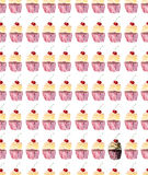 Bright beautiful tender lovely wonderful cute delicious tasty yummy summer dessert cupcakes with red cherry pattern Stock Image