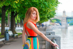 Bright beautiful woman near the river Royalty Free Stock Photography