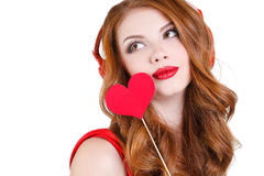 The bright beautiful woman on St. Valentine's Day. Royalty Free Stock Photos