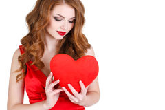 The bright beautiful woman on St. Valentine's Day. Stock Photography