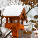 Bright bird house outdoors in winter covered with snow Stock Photography