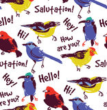 Bright birds greetings seamless pattern wallpaper. Royalty Free Stock Photography