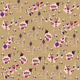 Bright birds seamless pattern and seamless pattern in swatch menu,  illustration Royalty Free Stock Photos