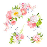 Bright birthday bouquets of wild rose, peony, orchid, carnation, ranunculus, hydrangea, blue berries and green leaves. Vector design elements royalty free illustration