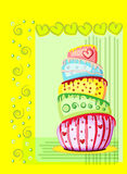 Bright birthday cake. Postcard Stock Photography