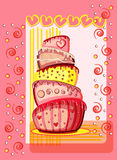 Bright birthday cake. Postcard Stock Photo