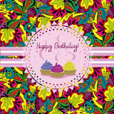 Bright Birthday card, invitation with cupcakes and ribbons. Doodle floral background. Stock Images