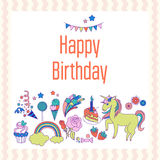 Bright birthday card with unicorn, flower, cloud, fireworks and strawberry Stock Photography