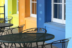 Bright Bistro. A colorful outdoor sidewalk seating area Royalty Free Stock Photo