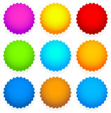 9 bright blank badge, starburst shape Stock Photography