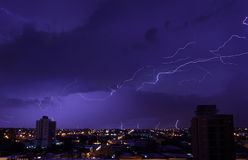 The bright blizzards in the night sky above the city Stock Image