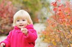 Bright blonde baby girl Stock Photos