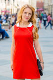 Bright blonde in the city center shooting Stock Images