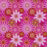 Bright Blossoms_Pink. Seamless floral pattern in four colorways. AI8-compatible transparency effect. Tiles repeat 6 inches Royalty Free Stock Photography